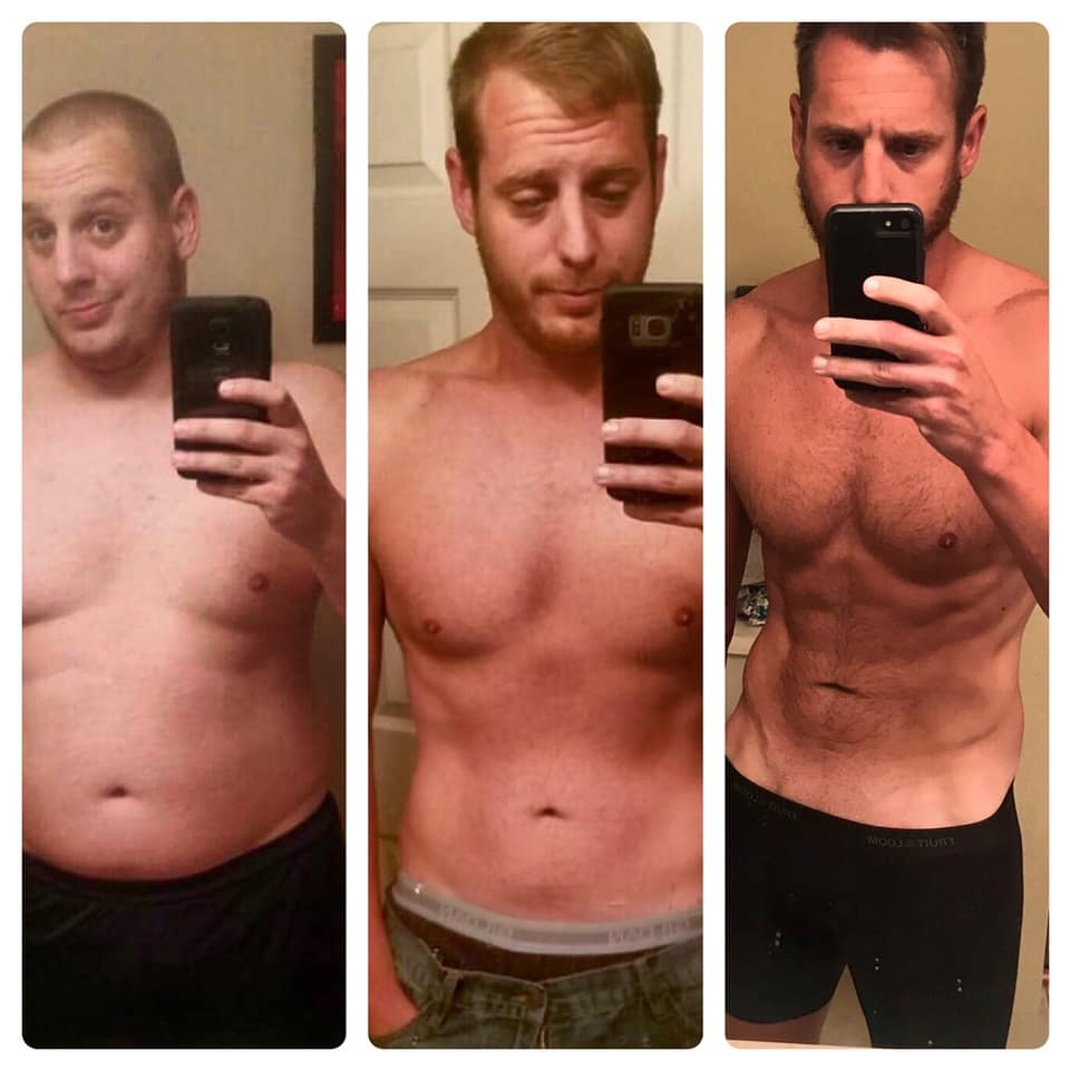 V Shred weight loss inspiration before, during, after photo